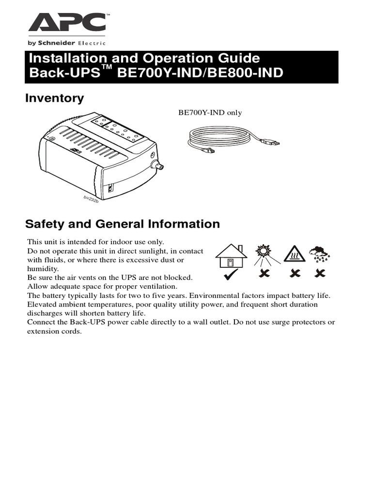 APC BE700Y-InD UPS User Manual - Jgnanamu | Battery