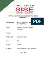 Control Interno - Segundo Pedro Alva Arevalo