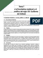 Tema 7 La Crisis de La Escolástica Medieval y El Desarrollo Científico Del Siglo XIV. Guillermo de Ockham