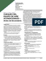 406-SP Listado de Chequeo Del Equipo de Aire Acondicionado – Antes de Encenderlo