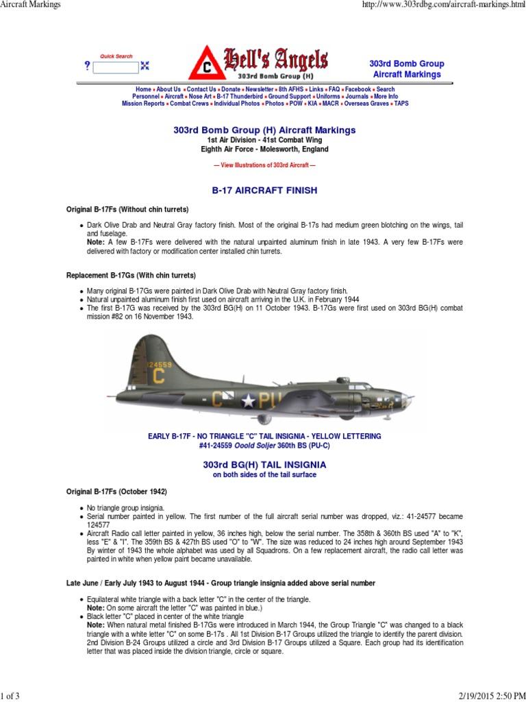 7b6a65224 B-17 Hells Angels Aircraft Markings | Boeing B 17 Flying Fortress ...