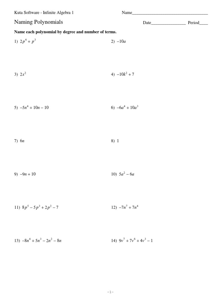 Naming Polynomialspdf – Kuta Software Infinite Algebra 1 Worksheet Answers