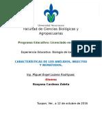 Características de Los Anélidos, Insectos y Nematodos.