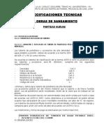Especificaciones Tecnicas -Obras de Saneamiento