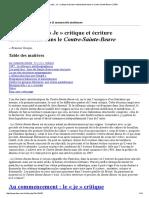 « Je » Narratif, « Je » Critique Et Écriture Intertextuelle Dans Le Contre-Sainte-Beuve _ ITEM