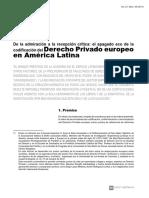 De La Admiración a La Recepción Crítica ; El Apagado Eco de La Codificación Del Derecho Privado Europeo en América Latina - Leysser León Hilario
