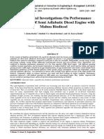 Experimental Investigations On Performance Parameters Of Semi Adiabatic Diesel Engine with Mahua Biodiesel