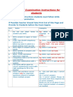 Instructions for Students While Writing Examination
