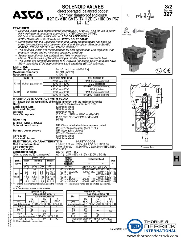 ASCO 327 Solenoid Valves ATEX IECEx Certified for