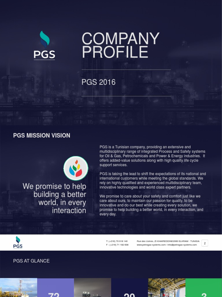PGS Company Profile   Natural Gas   Pipeline Transport