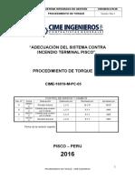 Cime 16019 m Pc 05, Procedimiento de Torque