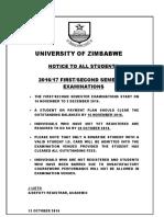 Notice Examinations 16 November - 2 December 2016