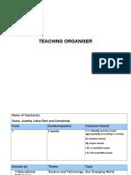Teaching Organiser for Form 1 English 2017