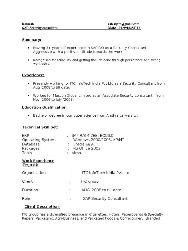 Sap Security Resume 2 Nikon Sap Se