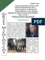 INIFOR EXPONE TRABAJOS DE INVESTIGACIÓN EN EL INSTITUTO DE BIOLOGÍA DE LA UNIVERSIDAD NACIONAL AUTÓNOMA DE MÉXICO COMO HOMENAJE AL DR. TEÓFILO HERRERA SUÁREZ, INVESTIGADOR EMÉRITO DE LA UNAM