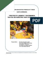 Proyecto Leemos y Escribimos Con Textos de Nuestra Vida Cotidiana
