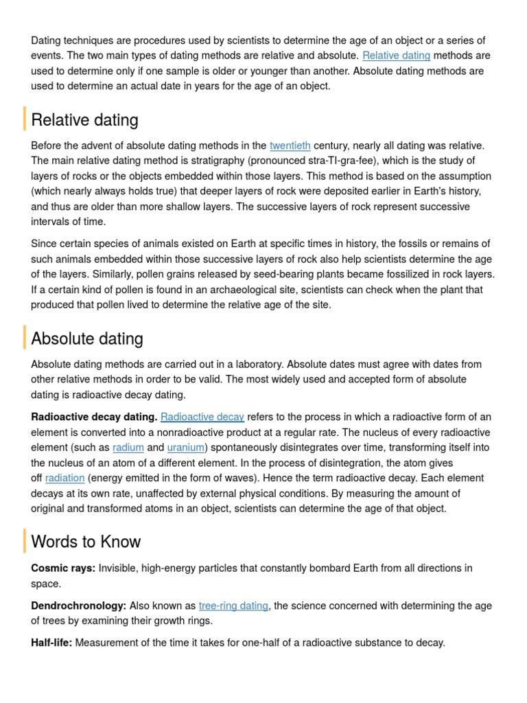 er dendrochronology absolut eller relativ dating