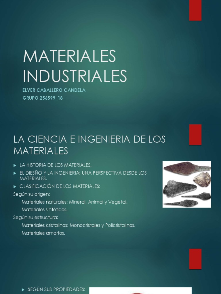 Materiales Industriales Presentacion Power Point