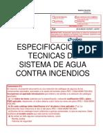 Especificaciones Técnicas Sistema de agua contra incendio