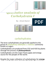 Quantitative Analysis of Carbohydrates I - Lab 4