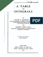 Tabla de Integrales - Hudson-Lipka