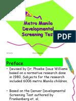 Metro Manila Developmental Screening Test Fin