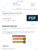Equipment Task List in SAP PM