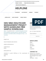Smu Mba Healthcare Management Project With Guideline Free Sample Download _ Project Helpline