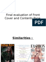Final Evaluation of Front Cover and Contents Page