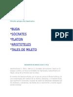 FILOSOFOS GRIEGOS  IMPORTANTES