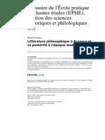 Ltterature Philosophique a Byzance Et Sa Posterite a l Epoque Moderne