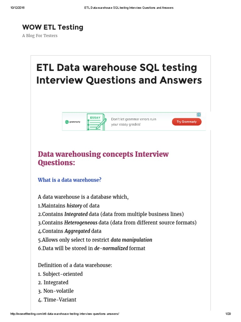 Superior ETL Data Warehouse SQL Testing Interview Questions And Answers | Data  Warehouse | Sql