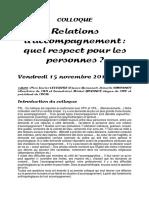 COLLOQUE-Relations d'Accompagnement-Quel Respect Pour Les Personnes