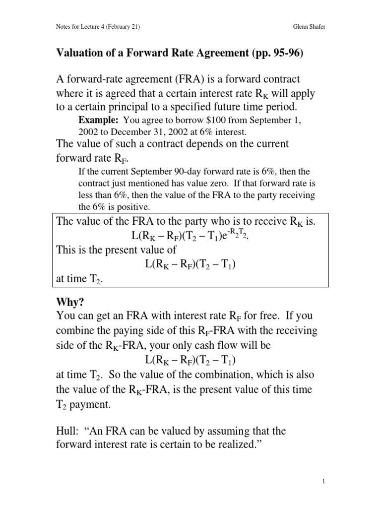 Valuation Of A Forward Rate Agreementpdf Swap Finance Libor