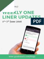 One Liner Updates Weekly 1 7 June 2016