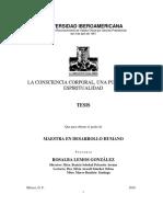 LA CONSCIENCIA CORPORAL, UNA PUERTA A LA ESPIRITUALIDAD - Rosalba Lemos González.pdf