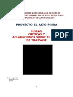 Tunel Proyecto El Alto Piura Horas Criticas