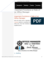 Important Functions or Role of an Office Manager