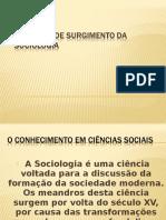 Contexto de Surgimento da Sociologia e Educação Física