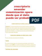 Plazo Prescriptorio Para Demandar Indemnización Opera Desde Que El Daño Puede Ser Probado