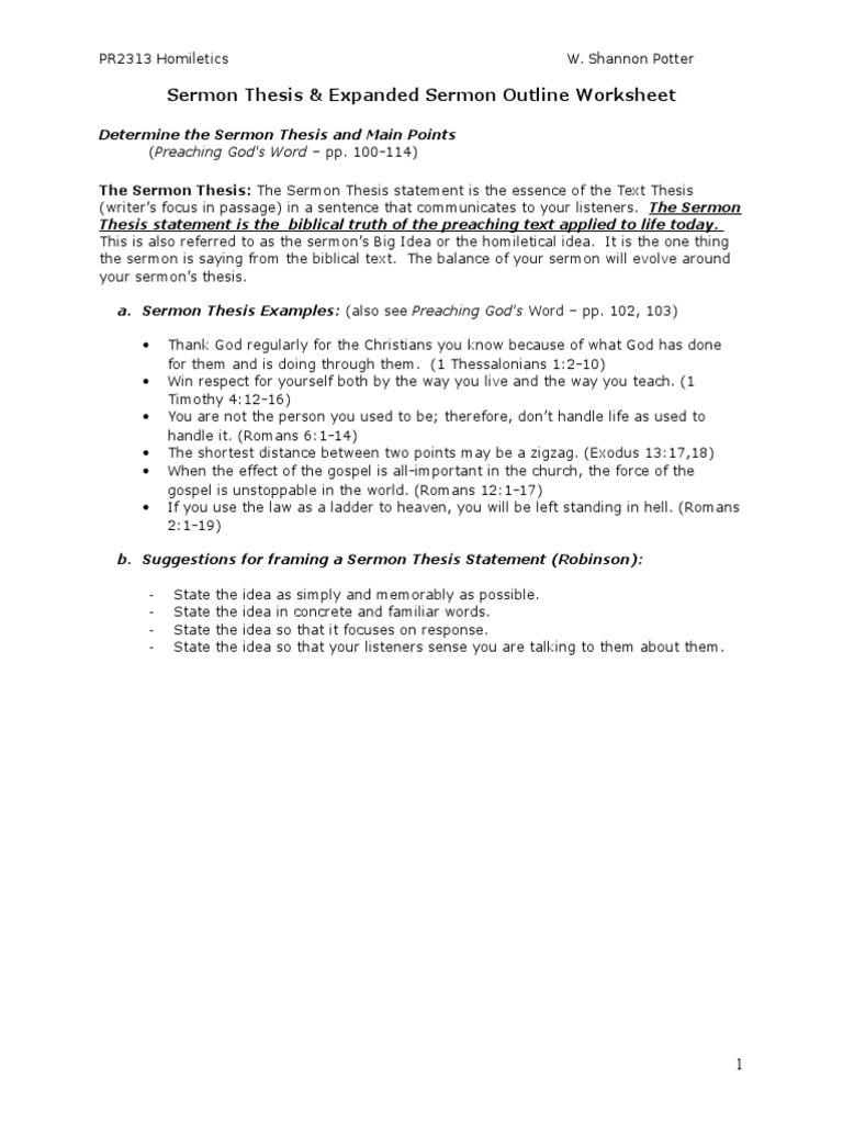 Sermon Thesis Outline Worksheet Homiletics – Thesis Statement Worksheet