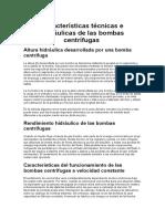 Características Técnicas e Hidráulicas de Las Bombas Centrífugas