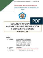 2 Informe de Laboratorio de Preparacion y Concentracion de Minerales