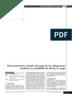 Reconocimiento Contable Del Pago de Las Obligaciones Mediante La Modalidad Dacion en Pago
