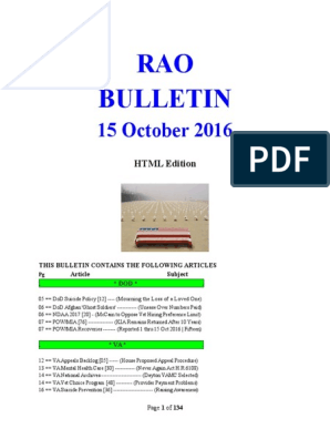 Bulletin 161015 Html Edition United States Department Of Veterans Affairs Veterans Health Administration