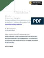 ECS Individual Presentation Outline