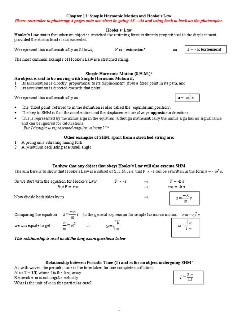 worksheet Simple Harmonic Motion Worksheet 13 hookes law and shm pendulum force force