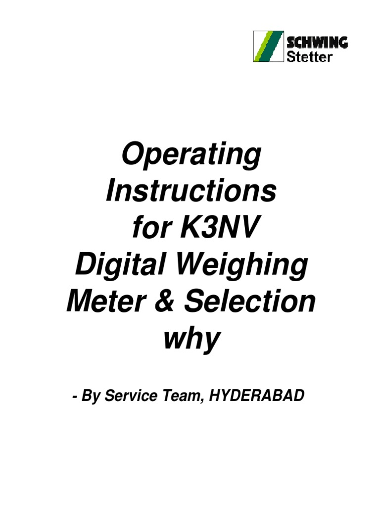 Operating Instructions for K3NV Digital Weighing Meter