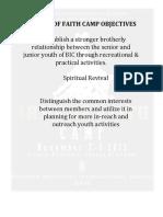 Bic Army of Faith Objectives