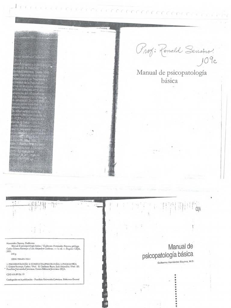Manual de Psicopatología.